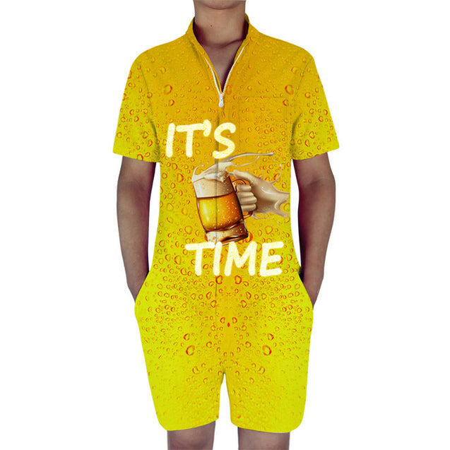 its beer time mens romper | Beer drinking romper