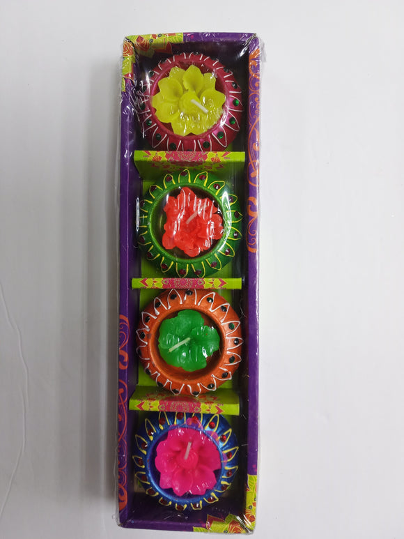 Diya box of 4 (flower candles)
