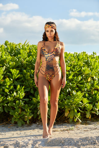 The Malaya Leopard Thong Monokini