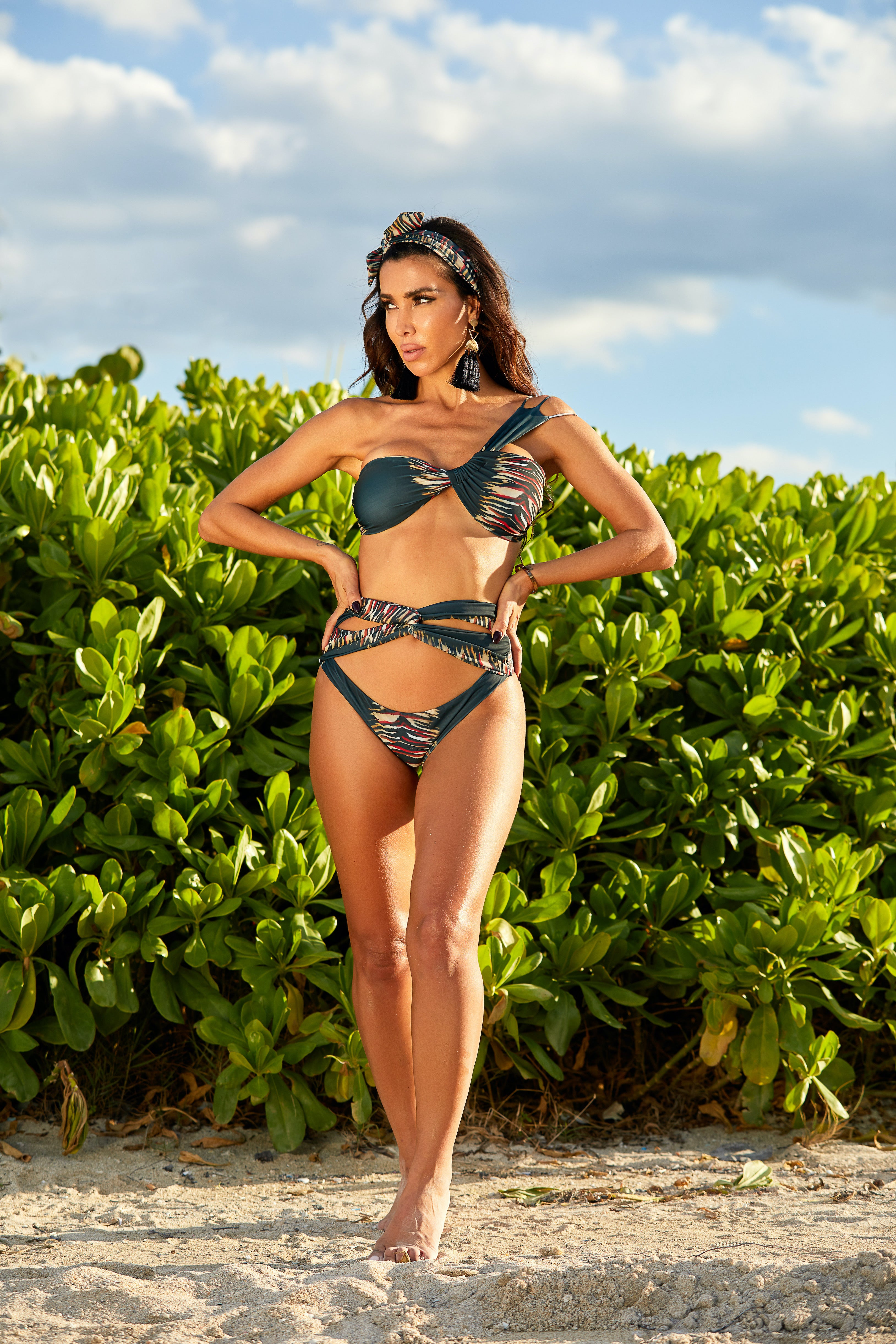 The Sumptuous Asymmetrical Tiger Print Bikini