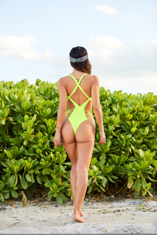 The Malaya Neon Thong Monokini