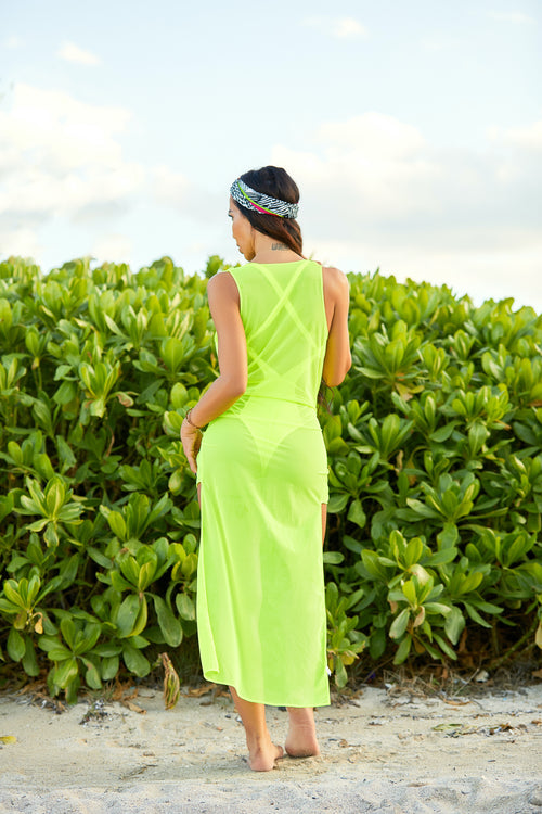 The Tucker Cover Up Dress Neon