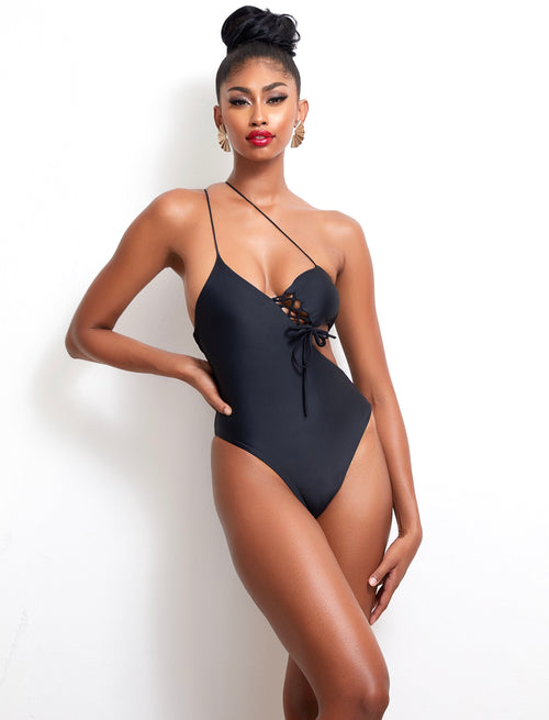 The Black Panther Lace Up One Piece - keva J swimwear Monokini - women's swimwear