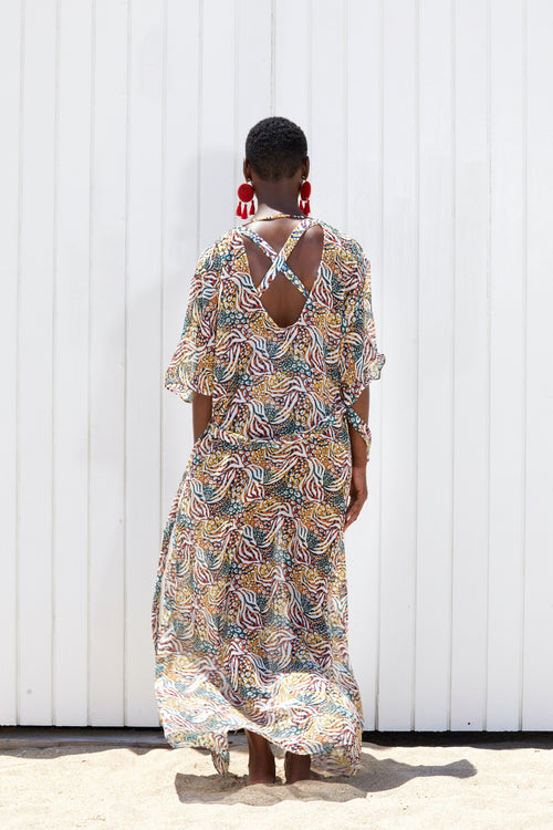 The Mandin Tropical Rasta Floor Length Duster