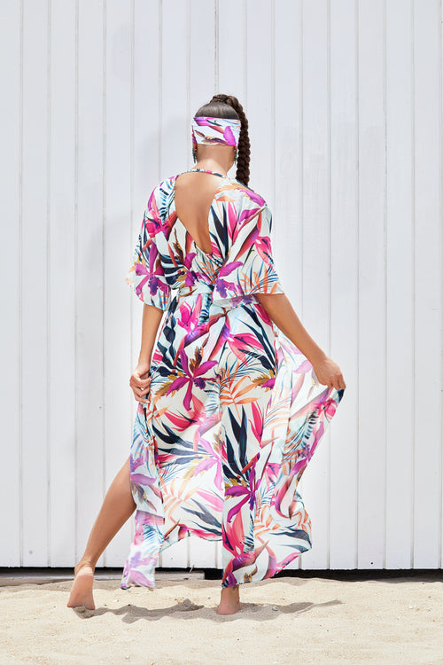The Mandin Tropical Floral Floor Length Duster