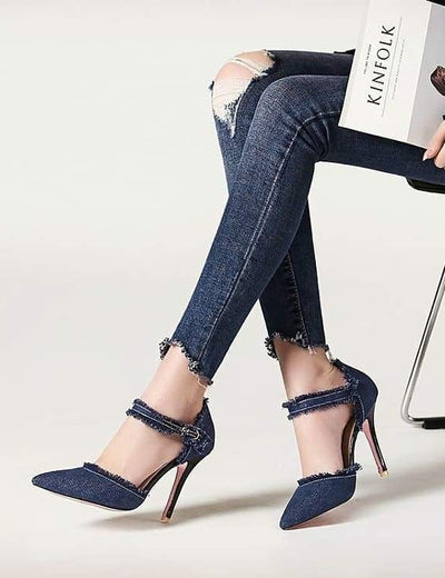 Frayed Denim Heels - Everyday Denim