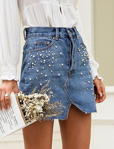 Split Pearled Denim Mini Skirt - Everyday Denim