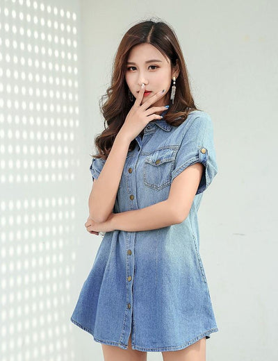 Single Breast Denim Dress - Everyday Denim