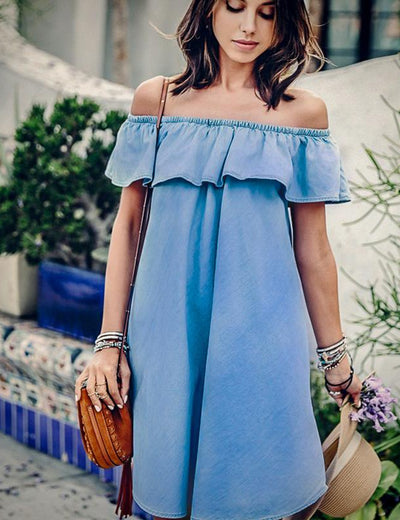 Ruffled Off Shoulder Denim Dress - Everyday Denim