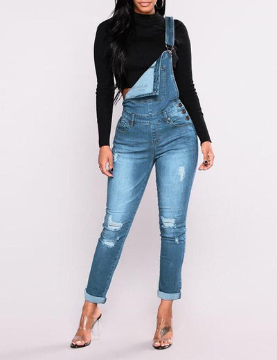 Skinny High Waist Denim Dungarees - Everyday Denim