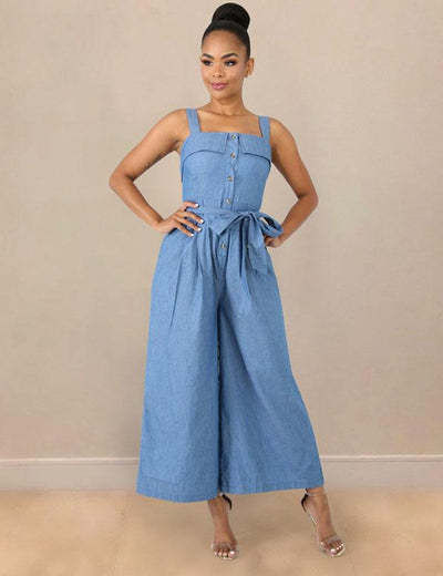 Wide Leg Bow Sash Denim Jumpsuit - Everyday Denim