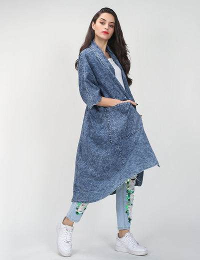 Denim Batwing Sleeve Loose Trench - Everyday Denim