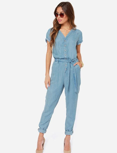 Tie Waist  Short Sleeve Denim Jumpsuit - Everyday Denim