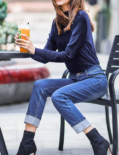 Mid Waist Stretchy Mom Jeans - Everyday Denim