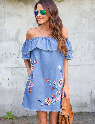 Floral Embroider Denim Dress - Everyday Denim