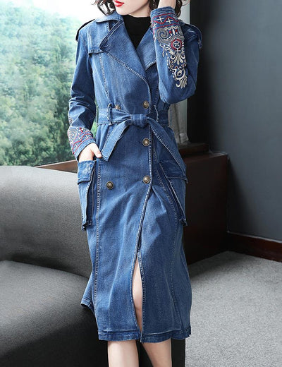 Embroidered Denim Trench Coat - Everyday Denim