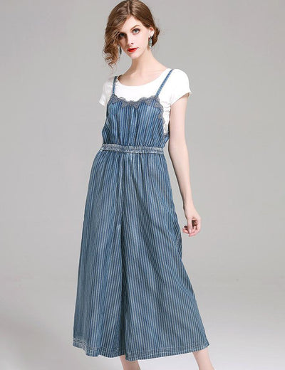 High Waist Striped Lace Denim Overalls - Everyday Denim