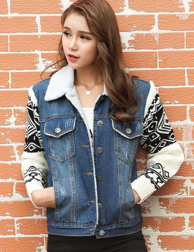 Aztec Knitted Sleeve Denim Jacket - Everyday Denim