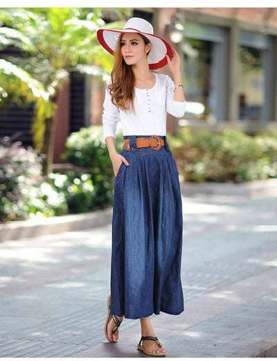 Long Flared Denim Skirt - Everyday Denim
