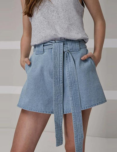 Flared High Waist Drawstring Denim Shorts - Everyday Denim