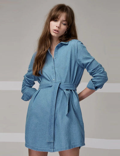 Long Sleeve Bow Tie Denim Dress - Everyday Denim