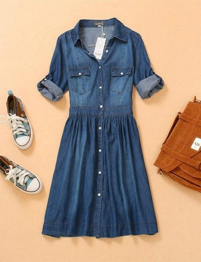 Three Quarter Vintage Denim Dress - Everyday Denim