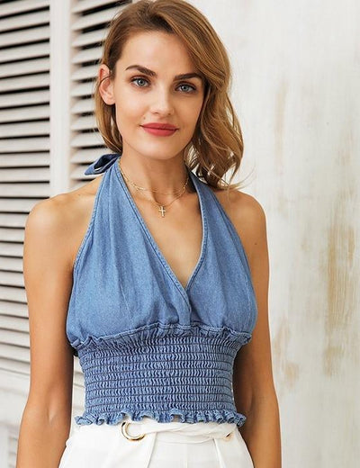 Denim Backless Halter - Everyday Denim