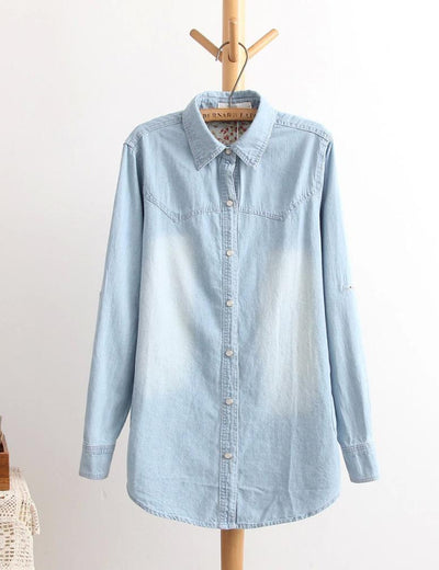 Long Turn Down Denim Shirt - Everyday Denim