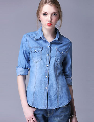 Turn Down Collar Denim Shirt - Everyday Denim