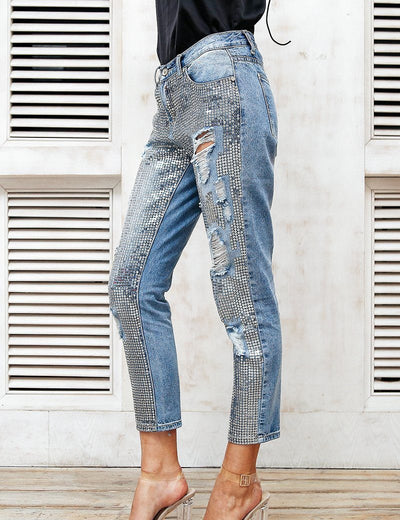 Ripped Sequin Mom Jeans - Everyday Denim