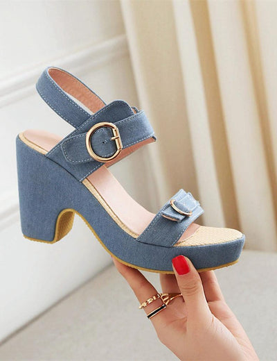 Denim Buckle Square Heel Sandals - Everyday Denim