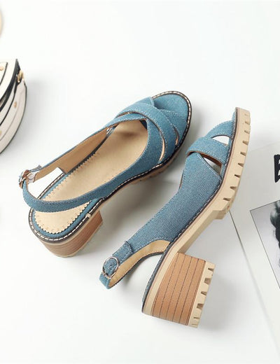 Denim Ankle Strap Sandals - Everyday Denim