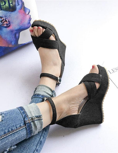 Denim High Wedge Sandals - Everyday Denim