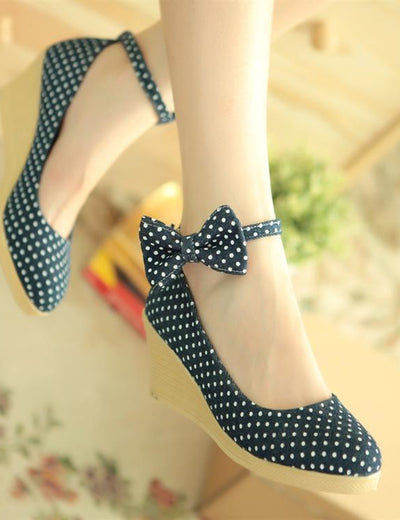 Polka Dot Denim Wedges - Everyday Denim