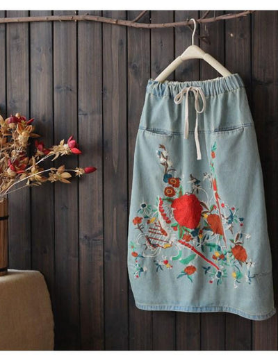Drawstring Floral Denim Skirt - Everyday Denim