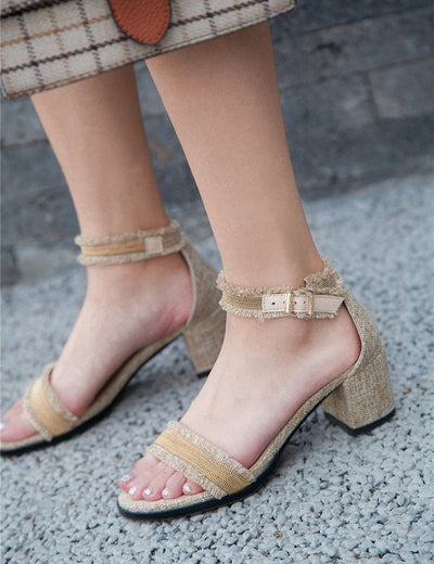 Denim Square Heel Sandals - Everyday Denim