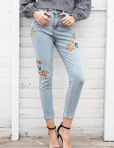 Floral Embroidered Pencil Jeans - Everyday Denim