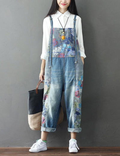 Embroidered Denim Overalls - Everyday Denim