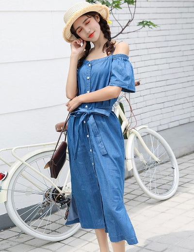 Off Shoulder Denim Dress - Everyday Denim