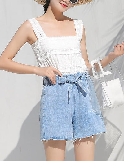 Elastic High Waist Denim Shorts - Everyday Denim