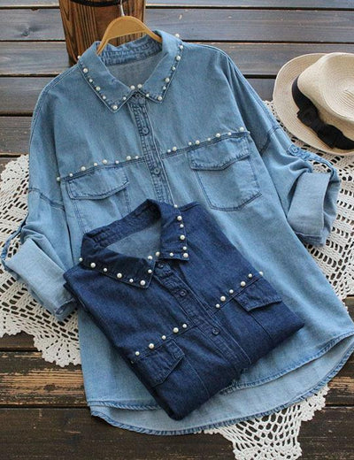 Pearled Long Sleeve Denim Shirt - Everyday Denim