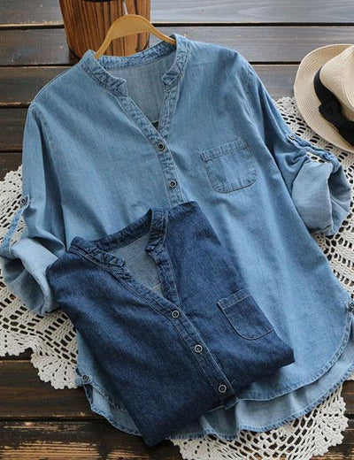 V Neck Long Sleeve Denim Blouse - Everyday Denim