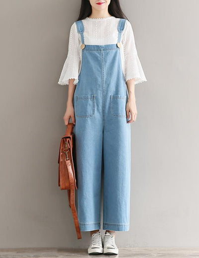 Wide Leg Denim Bib Dungarees - Everyday Denim