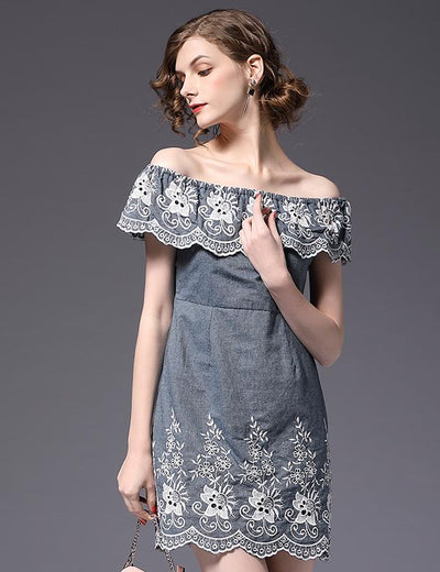 Off Shoulder Embroider Denim Dress - Everyday Denim