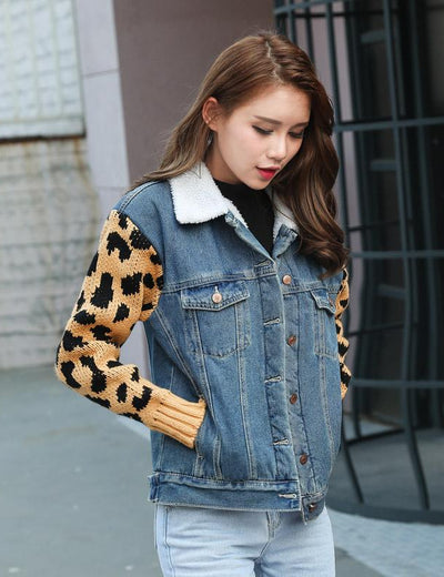 Leopard Print Knitted Sleeve Denim Jacket - Everyday Denim