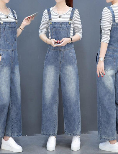 Wide Straight Leg Denim Bib Dungarees - Everyday Denim