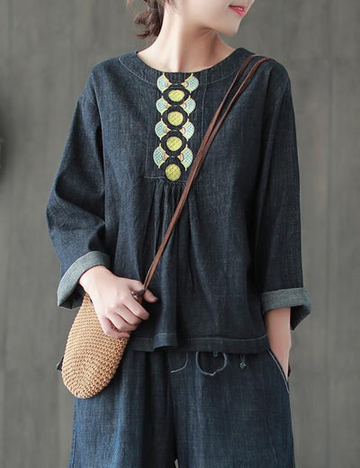 Embroidered O Neck Long Sleeve Denim Blouse - Everyday Denim