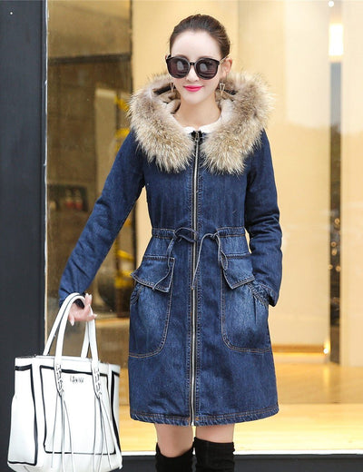 Thick Fleece Lined Fluffy Hood Denim Coat - Everyday Denim