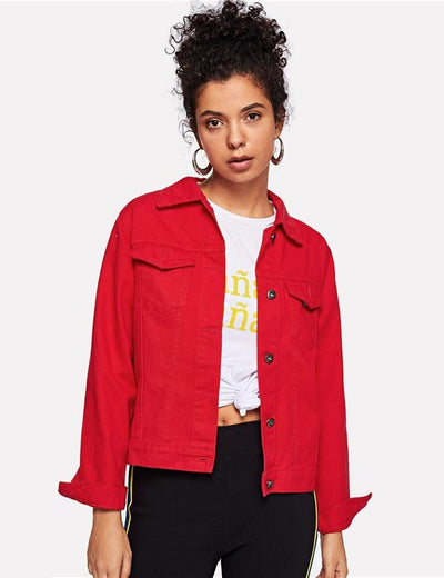 Red Turn Down Patchwork Denim Jacket - Everyday Denim