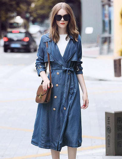 Vintage Long Sleeve Denim Trench Coat - Everyday Denim